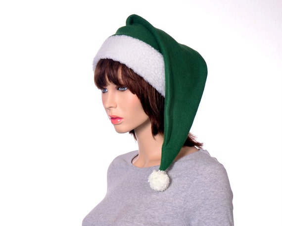 Green santa hat dark forest sherpa headband long