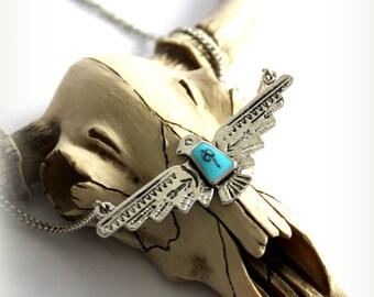 THUNDERBIRD Eagle spirit bird-silver plated enamel blue center Native necklace Boho Tribal Southwestern Free people style Layering necklace