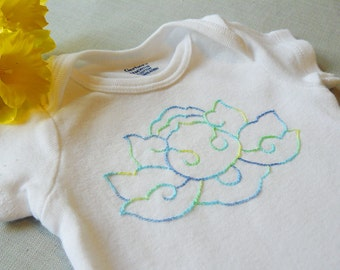 Blue Lotus Hand-Embroidered Onesie