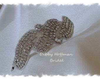 Rhinestone Bridal Headband, Beaded Crystal Wedding  Ribbon Headband, Jeweled Wedding Headpiece, Bridal, Bridal Hair Piece, No. 2081HB