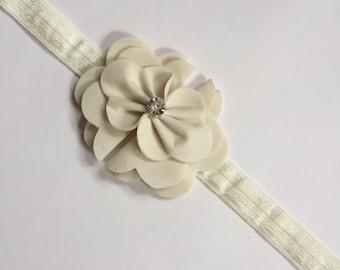 Ivory beige suede flower headband, suede headband, girls suede headband, beige headband, ivory girls headband