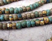 Aged Striped 2/0 Czech Glass Rocaille Seed Beads Turquoise Mix - 50 pcs - 6mm - Rustic Bohemian Opaque Matte Picasso - Central Coast Charms