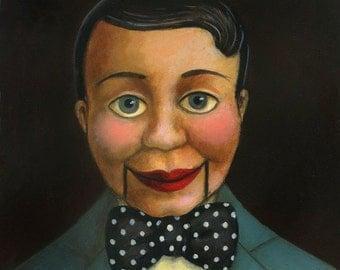 Ventriloquist Dummy Print, Blue, Puppet Print, Vintage Doll Print, Talking Head, Retro, Vaudeville, Music Hall Art, Carnival, Side Show