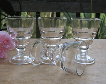 4 Small Clear Cordials - Wine Cocktail - Stemware Goblets - Oak Hill Vintage
