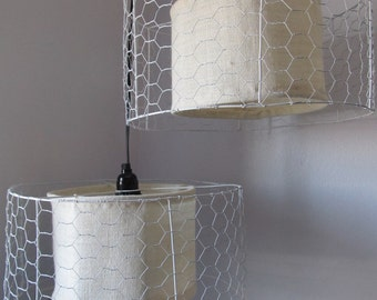 1 or 2 Chicken Wire/Burlap Lamps for Custom Order