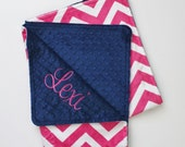 Personalized PINK CHEVRON MINKY Baby Stroller Blanket or Lovey with Midnigh Navy Blue Dot MInky