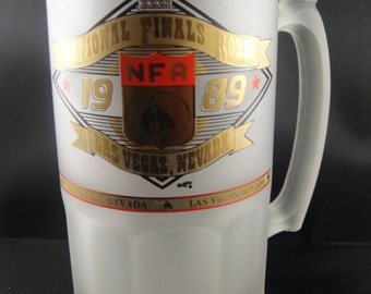 National Finals Rodeo Las Vegas Nevada 1989 Large Frosted Mug
