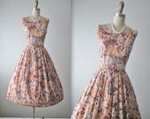 50's Floral Dress // Vintage 1950's Floral Print Rhinestone Cotton Summer Garden Party Dress XS