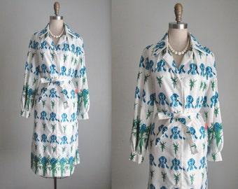 Deadstock Novelty Print Dress // Vintage 1970's Iris Floral Novelty Print Shirtwaist Garden Party Casual Dress Deadstock Mint Unworn Tags L