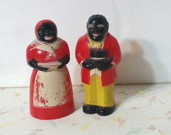 Vintage Celluloid Salt and Pepper Aunt Jemima and Uncle Moss Black Americana
