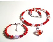 Red Lampwork Heart Necklace, Candy Apple Red Pearl, Heart Necklace 3 Pcs Set, Size Lengths Girls to Women
