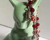 Elephant Head Charm Bracelet, Red Mosaic Gemstone, Elastic or Clasp, Sizes 5' to 9' in Length