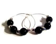 Black Beaded Hoop Earrings, Black, Beaded Hoop Earrings, 50mm to 80mm Hoops