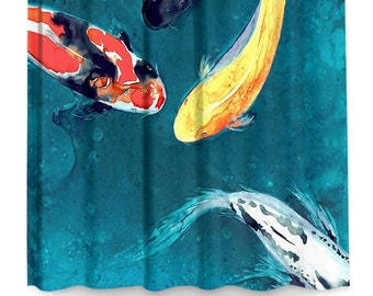Shower Curtain Fine Art Koi Painting - Artistic Bathroom - Colorful Modern Asian Zen Peaceful Bathroom Decor