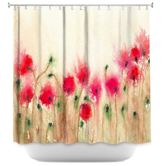 Floral Shower Curtain Fine Art Red Poppies Painting Artistic