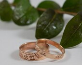 Rose Gold Botanical Wedding Bands: A Set of his and hers 9k Rose Gold wedding rings