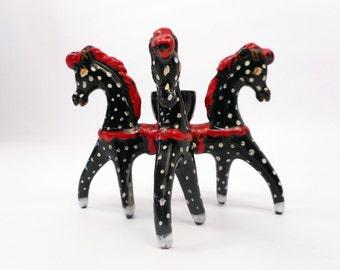 Four-Headed Horse Italian Ceramic Candle Holder