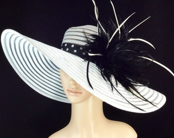 Derby Hat,Kentucky Derby Hat with Polka Dot hat band, Fascinator,Dress Hat, Wide Brim Hat ,Wedding Hat,Tea Party Hat ,Ascot hat