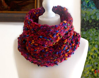 Red Carnival Super Chunky Cowl- Fine Italian Wool - Rib Knitted - Same on Both Sides