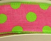 "1.5"" Fuchsia Lime Green Dot Denim Ribbon, 5 Yards or 10 Yard Lengths Available, Deco Mesh Supplies"