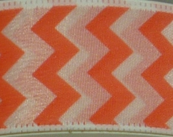 """1.5"""" Coral White Small Chevron Ribbon, 5 Yards or 10 Yard Lengths Available, Deco Mesh Supplies"""