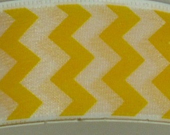 1.5 Inch Yellow White Small Chevron Ribbon, 5 Yards or 10 Yard Lengths Available, Deco Mesh Supplies