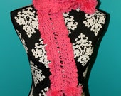 Girls Pink Hand Knit Scarf - Custom Colors Available
