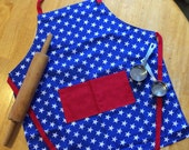 Childs apron YOUTH size red white and blue patriotic medium sized kids apron