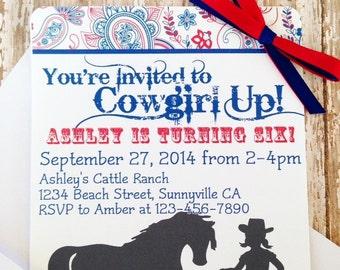 printable cowgirl birthday invitations, digital western birthday party invites, silhouette cowgirl invitations, paisley cowgirl invites