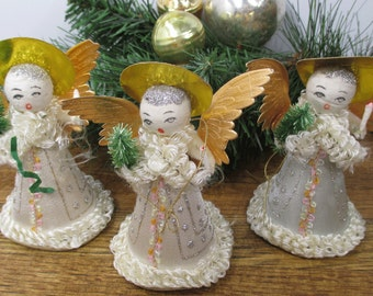 3 Vintage Christmas Angels, Spun Cotton, Gold Foil Wings, Holiday Decor, Tabletop, Mantle, Christmas Tree