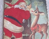 Vintage Linen Childrens Christmas Rudolph Picture Book Circa 1951