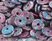 Ceramic Beads-13mm Round Disc-Blue Violet Splash-Quantity 25