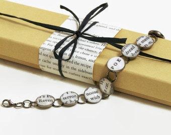 Edgar Allan Poe Bracelet, Literary Jewelry, Book Lover's Gift