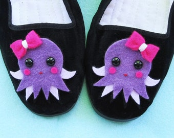 Octopus Mary Jane Shoes Flats (Ladies sizes 4, 5, 6, 7, 8, 9, 10, 11) Kawaii Animal Shoes Anime Cosplay