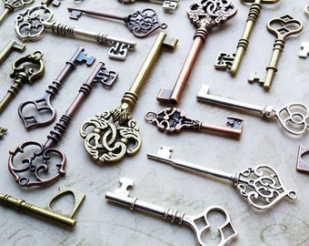 Assorted skeleton keys 125 pcs 2-3.5 inch mixed antiqued bronze, silver and copper steampunk vintage style pendants wholesale bulk wedding