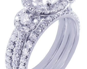 14k white gold round cut diamond engagement ring and bands halo deco 2.00ctw