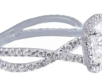 18k white gold cushion cut diamond engagement ring art deco 2.30ct EGL USA H-VS2