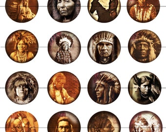 "Native American Magnets, Native American Pins, Indian magnets, Indian pins, 1"" Inch  Flat Back Buttons, Pins, or Magnets, 12ct., Cabochon"
