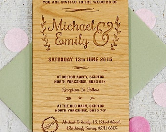 Floral Wooden Wedding Invitation