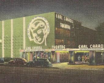 Earl Carroll Theatre Restaurant HOLLYWOOD California Vintage Linen Postcard 1948