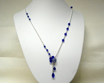 Deep Blue Crystal Beaded Necklace on Silver Chain
