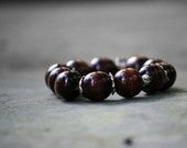 Bold Trendy Bohemian Natural Wood Stacking Elastic Bracelet, Gypsy, Chic Summer Fashion, Beaded Brown Bracelet, Earthy Jewelry
