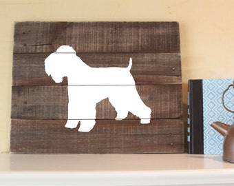 Soft Coated Wheaten Terrier Silhouette -  Reclaimed Wood Sign, I love Wheatens, Dog Art, Gift, Wall Art, Decor, hand-painted, handcrafted