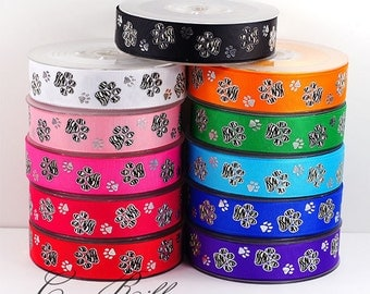 10/25 yards 7/8 inch 22mm Sparkle Silver Paw Zebra Animal Print Grosgrain Ribbon - 14 Colors
