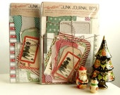 The Holly and the Ivy - JUNK JOURNAL 'bits' - coordinated mini book supplies complete with 5 retro Christmas cards