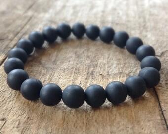 Men's Matte Black Onyx Bracelet, Black Stretch Bracelet, Black Stone Bracelet, Black Bracelet, Boho Bracelet, Bohemian Jewelry, 10mm Beads