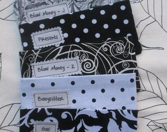 Designer Fabric Envelopes  SIX Cash envelopes with Open/VELCRO/Zipper  Closures Choose your own fabrics