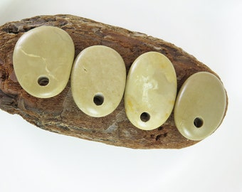 Beach Stones Top Drilled 4 pcs- Big Smooth Pebbles for Jewelry Design Supplies
