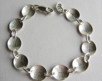 Silver leaf dish bracelet