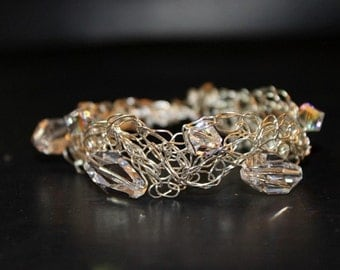 Handcrafted Seven Swarovski Clear Crystals Bracelet with Braided Wire
